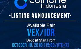 Vexanium Listing di Coinone Indonesia Mulai 19 Oktober 2018